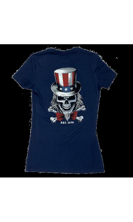 T-Shirt femme bleu UNCLE SAM | SAVAGE BARBELL