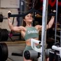 SAVAGE BARBELL HIGH NECK MOSS green sport bra
