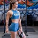 Training bra HIGH NECK STEEL BLUE for women - SAVAGE BARBELL