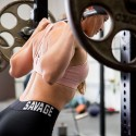 Training bra pink 4 STRAPS LOW CUT BLUSH for women | SAVAGE BARBELL
