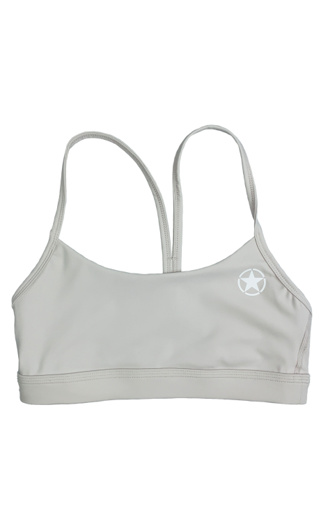 Training bra grey 2 STRAPS LOW CUT CLAY for women | SAVAGE BARBELL