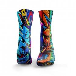 Multicolor workout GRAFFITI orange & blue socks – HEXXEE SOCKS