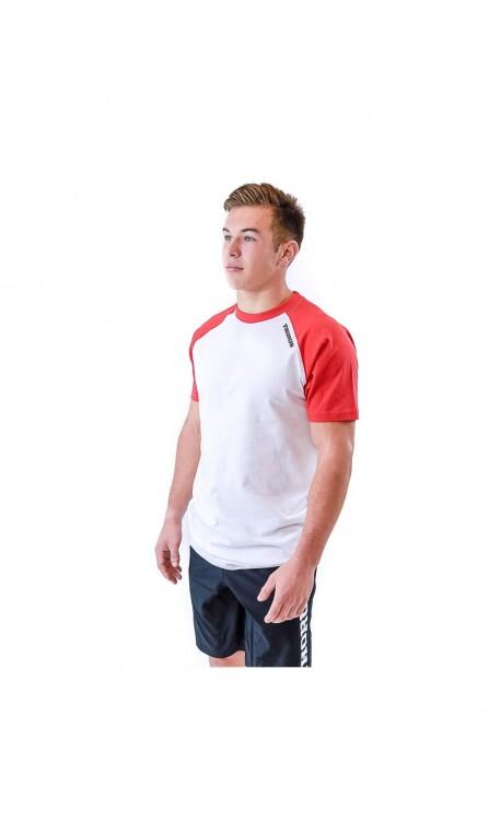 T-shirt homme blanc/rouge Bicolore   THORUS WEAR
