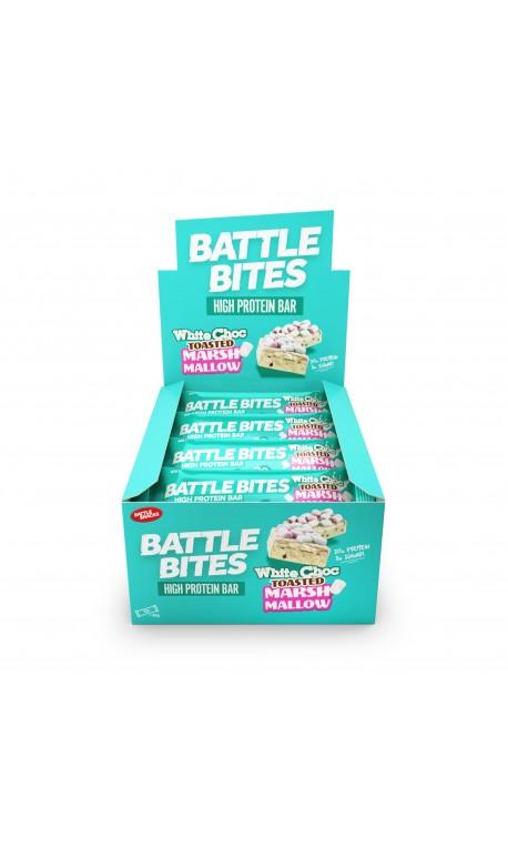 Pack de 12 Barres protéinées + WHITE CHOCOLATE TOASTED MARSHMALLOW   BATTLE SNACKS