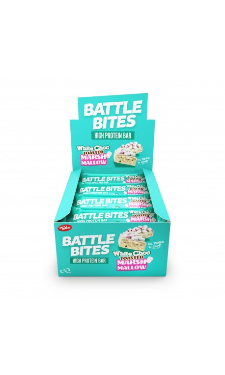Pack of 12 protein bars + WHITE CHOCOLATE TOASTED MARSHMALLOW | BATTLE SNACKS