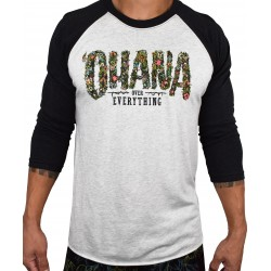 T-Shirt manches 3/4 unisexe noir/blanc OHANA OVER EVERYTHING | PROJECT X