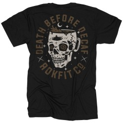 T-Shirt Homme noir DEATH BEFORE DECAF| ROKFIT