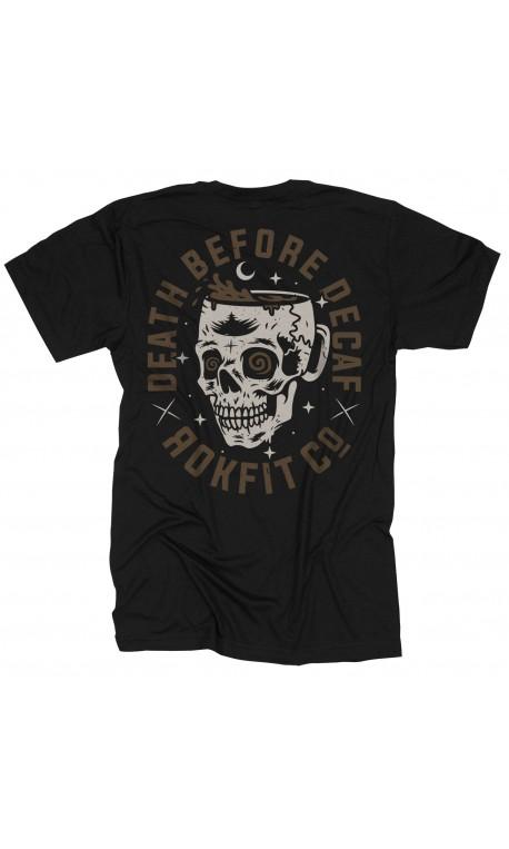 T-shirt black DEATH BEFORE DECAF for men - ROKFIT