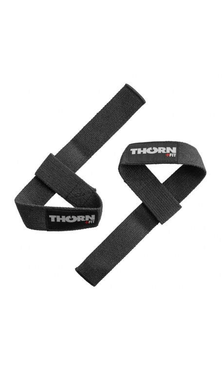 Black lifting straps fot athlete by THORN+FIT