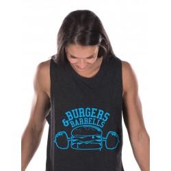 Boutique Débardeur Femme Noir Crossfit - Muscle Tank Blue Burger & Barbel
