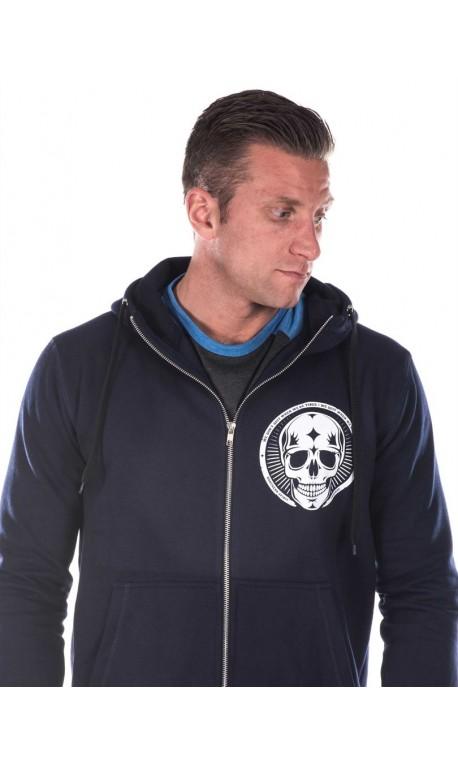 744f13f2e92ab Sweat à capuche sport Homme - Navy Blue Hoodie, Skull