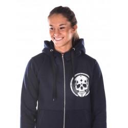 Boutique Sweat à capuche sport Femme Crossfit - Navy Bleu skull