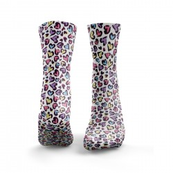 Chaussettes multicolores LEOPARD PRINT HEART| HEXXEE SOCKS