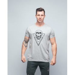 T-shirt unisexe gris SKULL| VERY BAD WOD x WILL LENNART TATOO