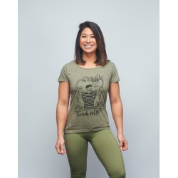 Training T-shirt heather green FRENCH WOD for women | VERY BAD WOD x WILL LENNART TATOO