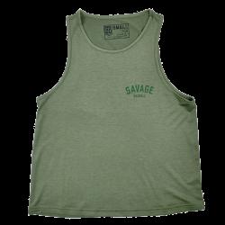 Training muscle tank green khaki RACERBACK for women - SAVAGE BARBELL