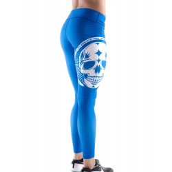 Boutique Legging bleu Femme Crossfit - White skull