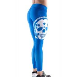 Boutique Legging bleu Femme Crossfit - White skull