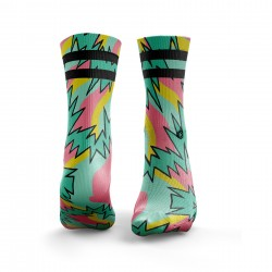 Workout Fresh Prince 2Stripe Pastel green and pink – HEXXEE SOCKS