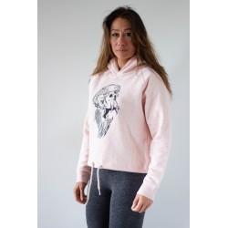 Sweat-shirt crop hood pink GORILLA OPS women by VERY BAD WOD