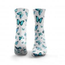 White workout BLUE BUTTERFLIES socks – HEXXEE SOCKS