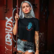 Training crop T-shirt THE BOTANIC black for women  ROKFIT