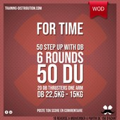 WOD Training Distribution ⚡️For Time50 Step up with DB Then 6 Rounds 50 DU 20 DB Thrusters one armDB 22,5/ 15kgPoste ton résultat en commentaire 🙌Training-distribution.com 💫#trainingdistribution #wod #training #dumbbell