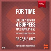WOD Training Distribution ⚡️For Time30 secondes ON / 30 secondes OFF 4 Burpees max Devil Press50 Devil press à completer au totalDB 22,5 / 15kgPoste ton résultat en commentaire 🙌Training-distribution.com 💫#trainingdistribution #wod #training